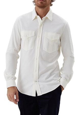 Brunello Cucinelli Men's Cotton Pocket Sport Shirt