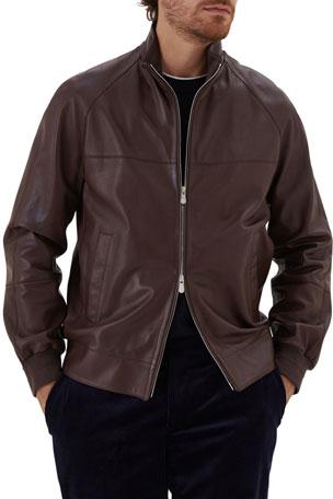Brunello Cucinelli Men's Leather Raglan Zip-Front Jacket