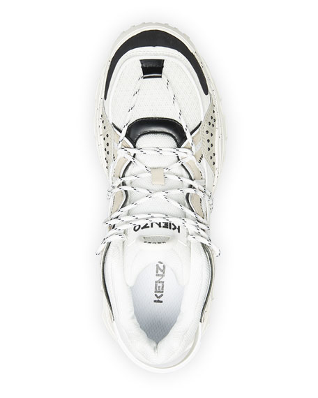 Image 2 of 4: Kenzo Men's Inka Mix-Media Wraparound-Lace Sneakers
