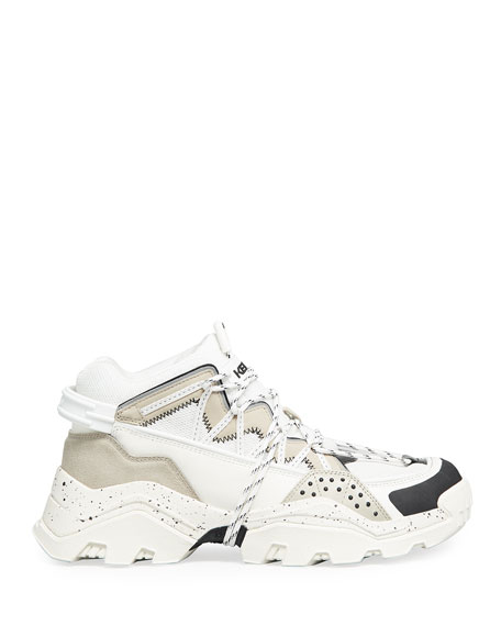 Image 3 of 4: Kenzo Men's Inka Mix-Media Wraparound-Lace Sneakers
