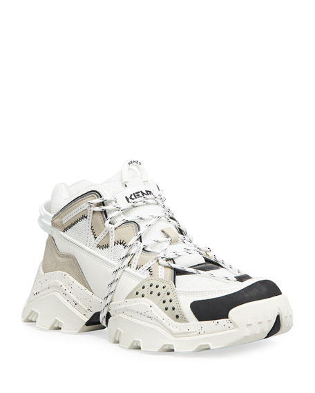 Image 1 of 4: Kenzo Men's Inka Mix-Media Wraparound-Lace Sneakers