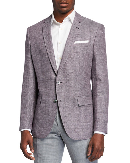Image 1 of 3: BOSS Men's Slim-Fit Textured Knit Sport Jacket