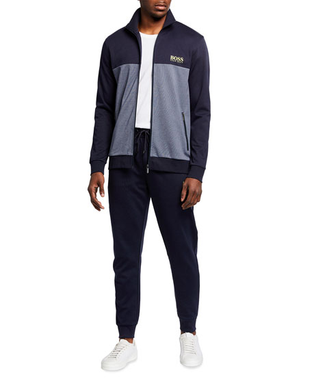 Image 3 of 3: BOSS Men's Two-Tone Pique Logo Track Suit Pants