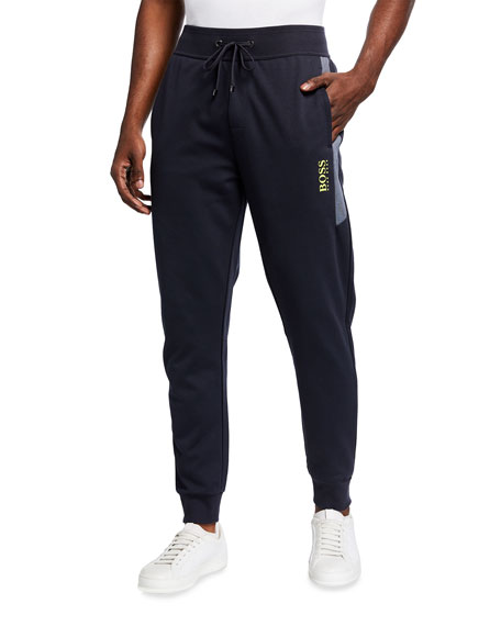 Image 1 of 3: BOSS Men's Two-Tone Pique Logo Track Suit Pants
