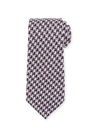 TOM FORD Men's Large Houndstooth Silk Tie