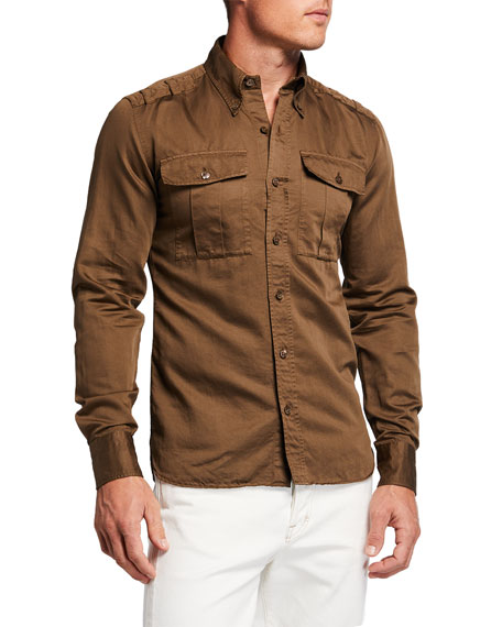 Image 1 of 2: Men's 2-Pocket Point-Collar Sport Shirt