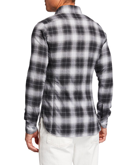 Image 2 of 2: Men's 2-Pocket Button-Collar Plaid Sport Shirt