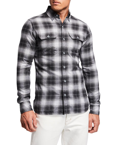 Image 1 of 2: Men's 2-Pocket Button-Collar Plaid Sport Shirt