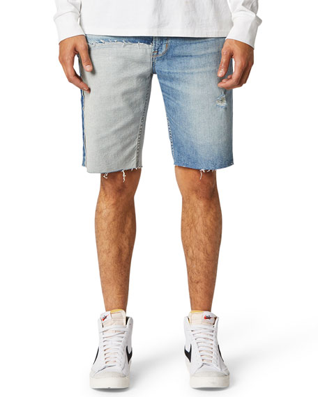 Image 1 of 2: Hudson Men's Reconstructed Cutoff Denim Shorts