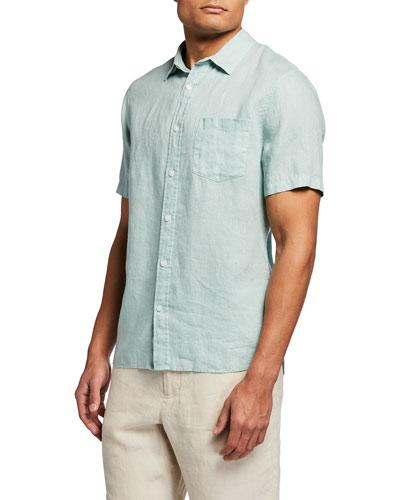 Men's Linen Short-Sleeve Sport Shirt