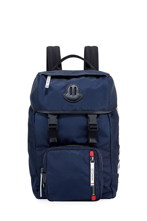 Moncler Men's Chute Leather-Trim Canvas Backpack