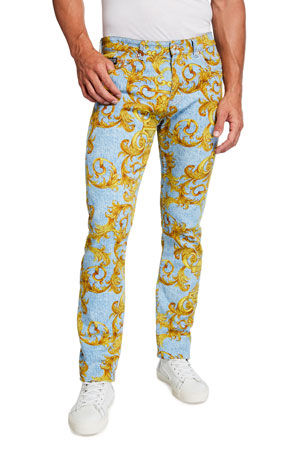Versace Jeans Couture Men's Slim Baroque Light-Wash Jeans