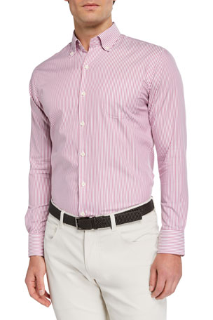 Peter Millar Men's Narrow Stripe Sport Shirt