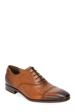 Salvatore Ferragamo Men's Boston Leather Lace-Up Dress Oxfords