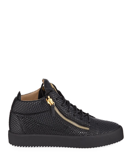 Image 3 of 3: Giuseppe Zanotti Men's Embossed Leather Mid-Top Sneakers