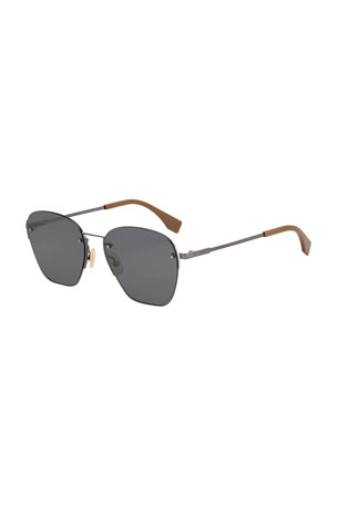 Fendi Men's Rimless Geometric Metal Sunglasses
