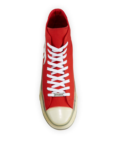 Image 2 of 4: Palm Angels Men's Palm Tree Canvas High-Top Sneakers