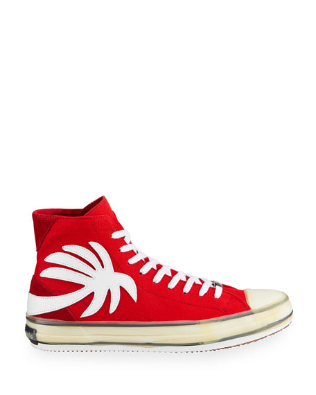 Image 3 of 4: Palm Angels Men's Palm Tree Canvas High-Top Sneakers