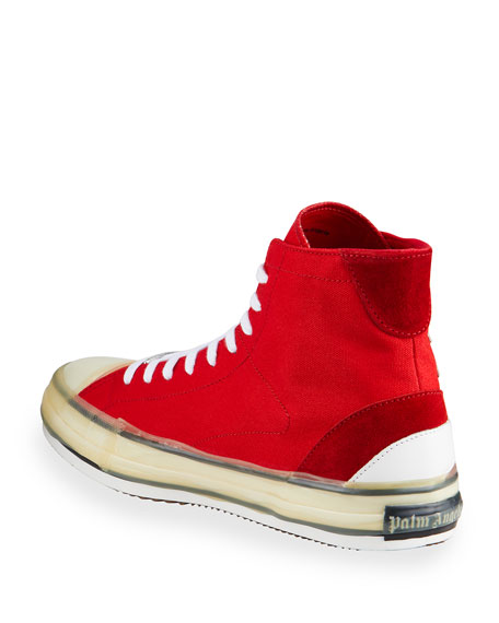 Image 4 of 4: Palm Angels Men's Palm Tree Canvas High-Top Sneakers