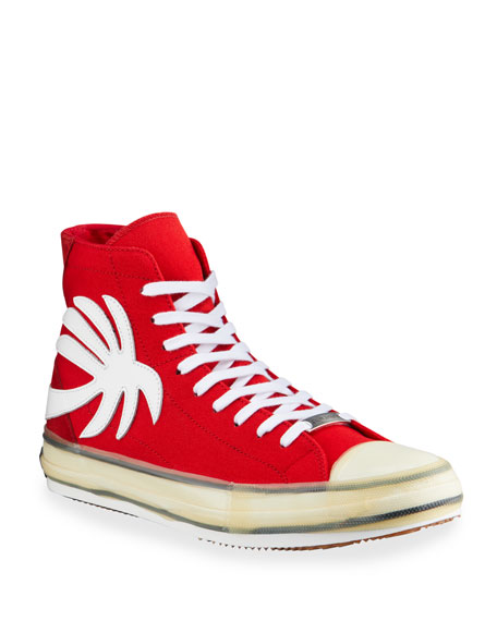 Image 1 of 4: Palm Angels Men's Palm Tree Canvas High-Top Sneakers