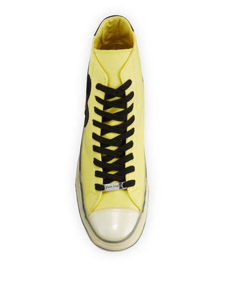 Image 2 of 4: Palm Angels Men's Palm Tree Canvas High-Top Sneakers, Yellow