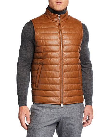 Image 2 of 3: Neiman Marcus Men's Quilted Lamb Leather Vest