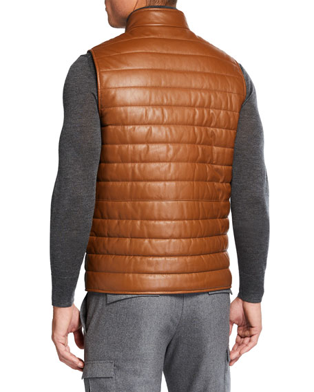 Image 3 of 3: Neiman Marcus Men's Quilted Lamb Leather Vest