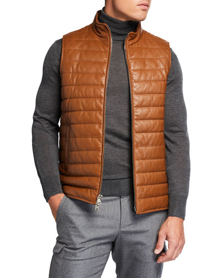 Image 1 of 3: Neiman Marcus Men's Quilted Lamb Leather Vest
