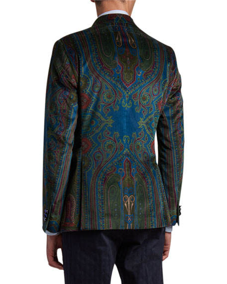 Image 2 of 3: Etro Men's Paisley Placed-Velvet Sport Jacket