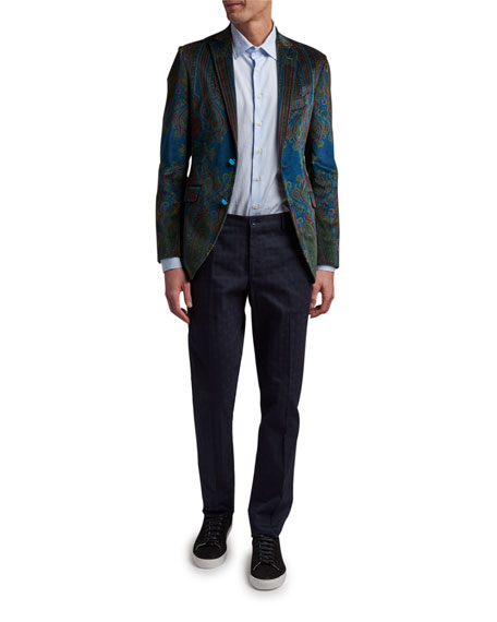 Image 3 of 3: Etro Men's Paisley Placed-Velvet Sport Jacket