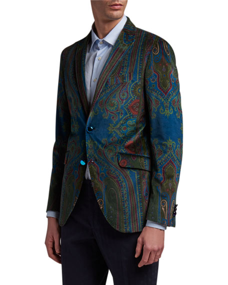 Image 1 of 3: Etro Men's Paisley Placed-Velvet Sport Jacket