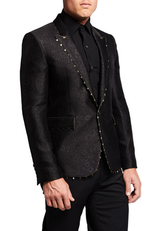 Saint Laurent Men's Peak-Lapel Blazer with Metallic Trim