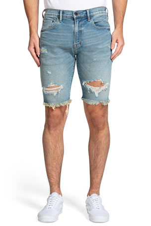 PRPS Men's Distressed Cutoff Denim Shorts