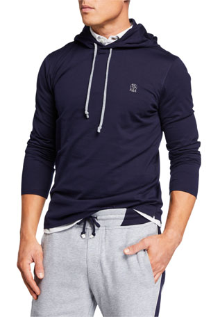 Brunello Cucinelli Men's Cotton Pullover Hoodie