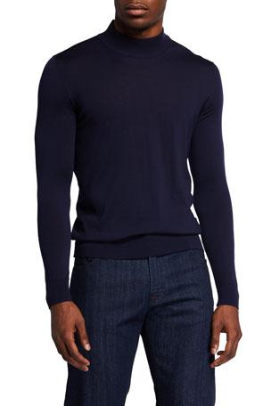 Kiton Men's Mock-Neck Wool Sweater