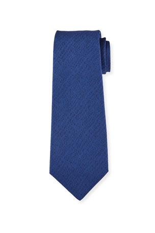 Kiton Men's Solid Herringbone Silk Tie