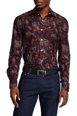 Kiton Men's Floral Paisley Sport Shirt
