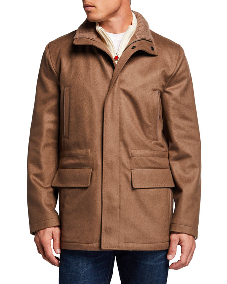 Image 2 of 3: Kiton Men's Cashmere Zip-Up Car Coat