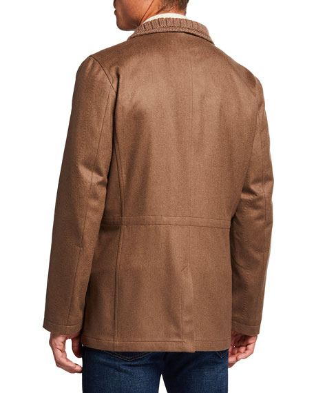 Image 3 of 3: Kiton Men's Cashmere Zip-Up Car Coat