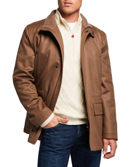 Image 1 of 3: Kiton Men's Cashmere Zip-Up Car Coat