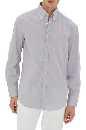 Brunello Cucinelli Men's Micro Check Cotton Sport Shirt