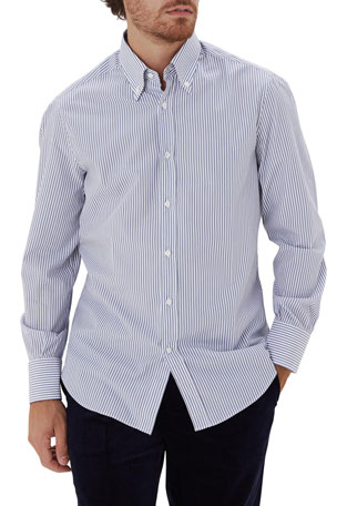 Brunello Cucinelli Men's Striped Cotton Sport Shirt