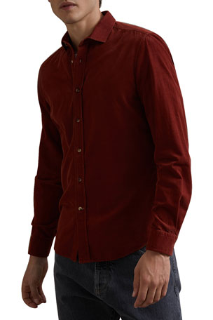 Brunello Cucinelli Men's Corduroy Button-Front Shirt
