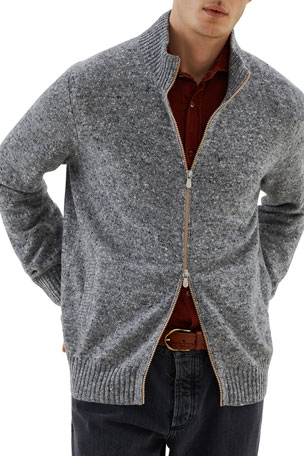 Brunello Cucinelli Men's Donegal Full-Zip Sweater