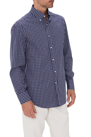 Brunello Cucinelli Men's Windowpane Check Sport Shirt