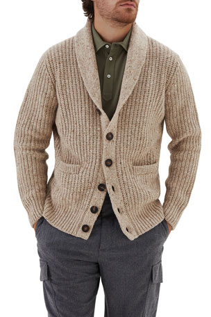 Brunello Cucinelli Men's Shawl-Collar Melange Cardigan Sweater