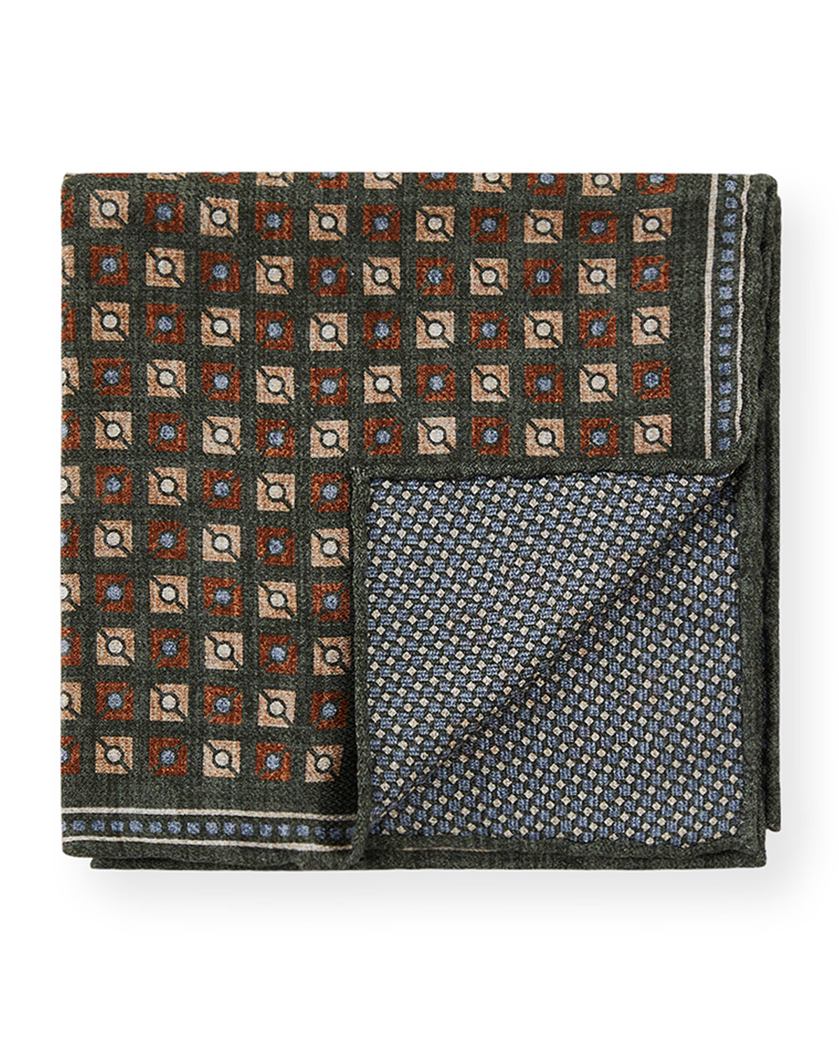 Brunello Cucinelli Men's Square & Circle Reversible Silk Pocket Square