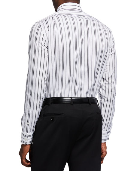 Image 2 of 2: Alexander McQueen Men's Striped Poplin Sport Shirt