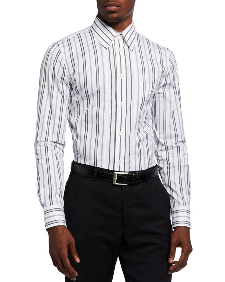 Image 1 of 2: Alexander McQueen Men's Striped Poplin Sport Shirt
