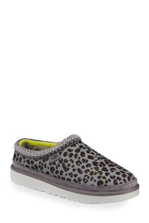 UGG Men's Tasman Leopard Cow Hair Slippers